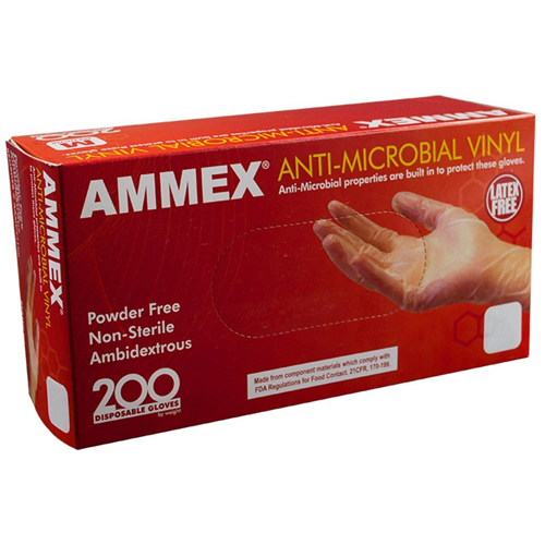7. AMMEX - AAMV42100-BX - Vinyl Gloves - Anti-Microbial, Food Safe, Industrial, 4 Mil