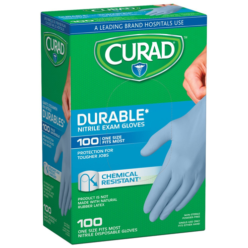 1. Curad CUR4145R Powder-Free Nitrile Exam Gloves (Pack of 10)