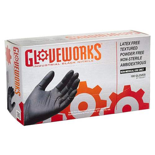 2. AMMEX - BINPF42100-BX - Industrial Nitrile Gloves - Gloveworks - Disposable, Small, Black (Box of 100)